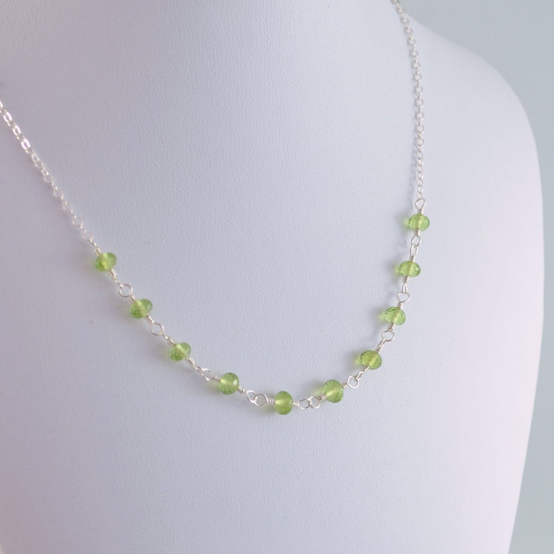 Peridot Wire Wrapped Necklace for Girls
