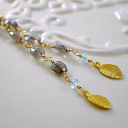Long Labradorite Earring with Blue Topaz Gemstones