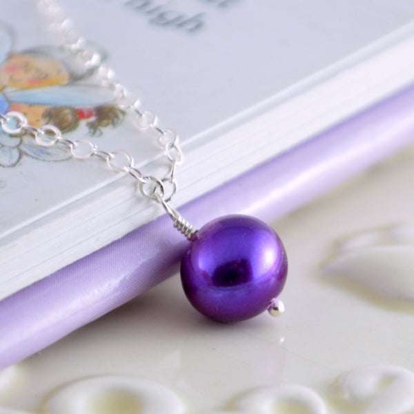 Purple Pearl Necklace for Flower Girls