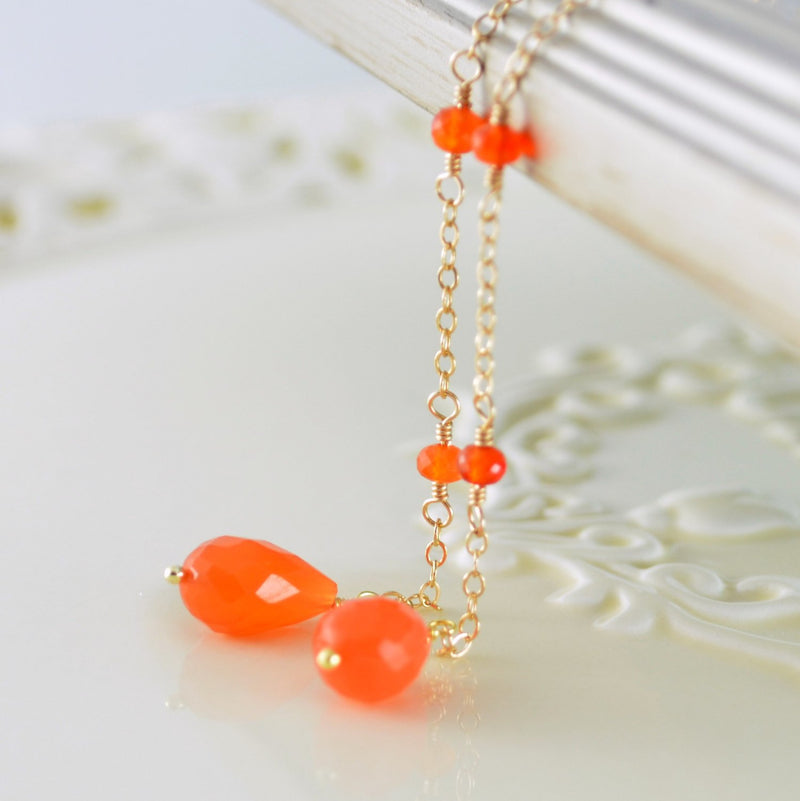 Orange Carnelian Lariat, Gemstone Necklace