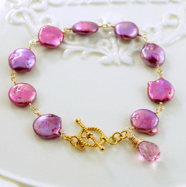 Real Coin Pearl Bracelet with Orchid Pink Freshwater Pearls