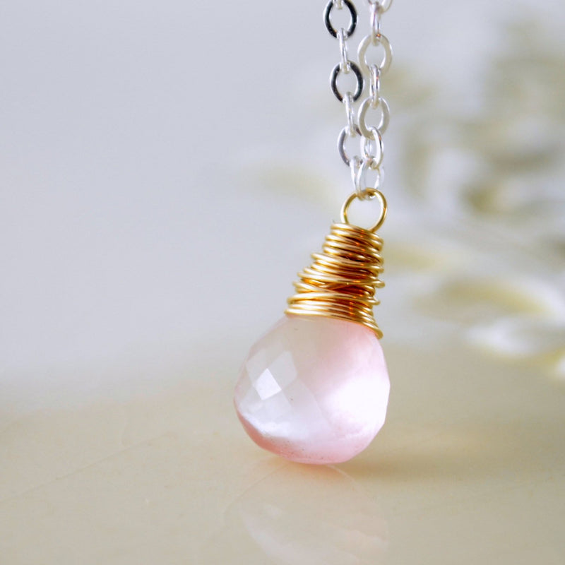 Rose Quartz Necklace, Mixed Metals
