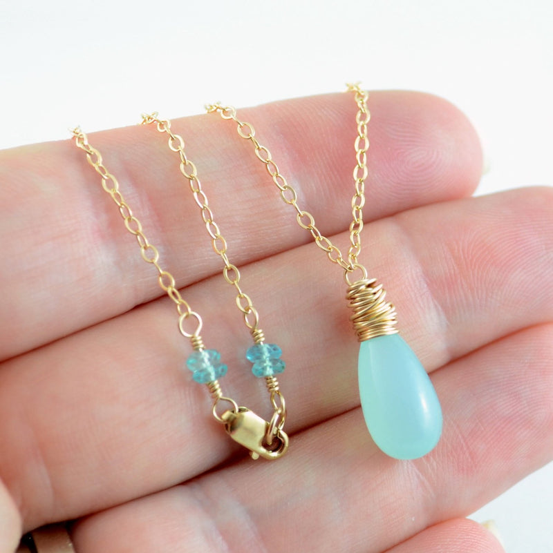 Aqua Chalcedony Necklace with Gemstone Teardrop Pendant