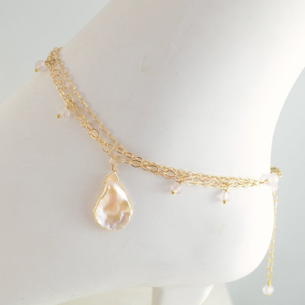Delicate Gold Anklet with Blush Pink Rose Quartz