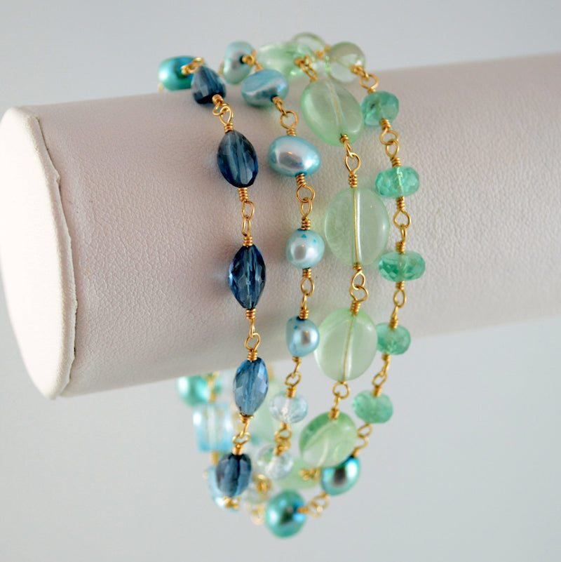 Long Ombre Necklace with Blues and Greens - Changing Ocean