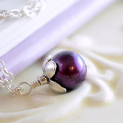 Burgundy Pearl Pendant Necklace for Child