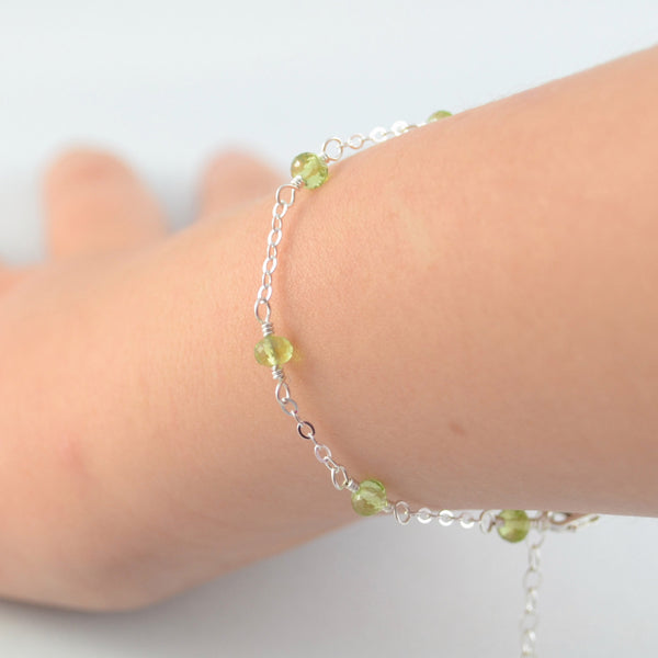 Dainty Peridot Bracelet for Girls