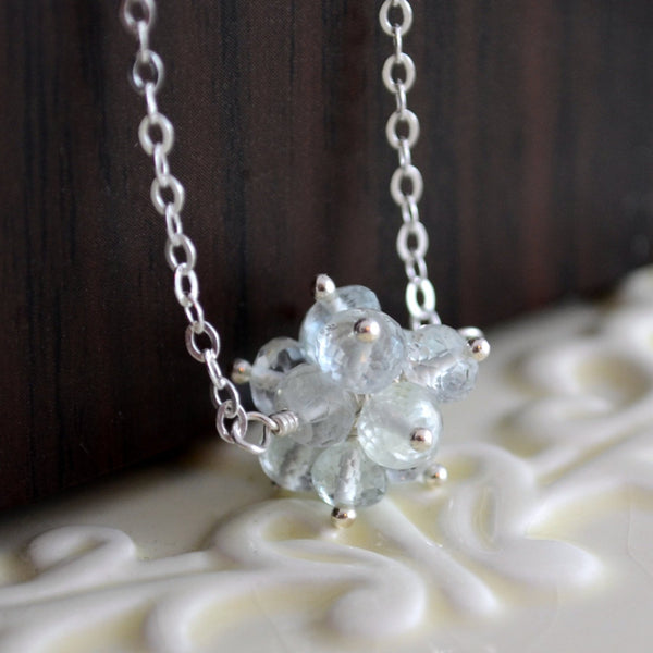 Aquamarine Necklace with Gemstone Cluster