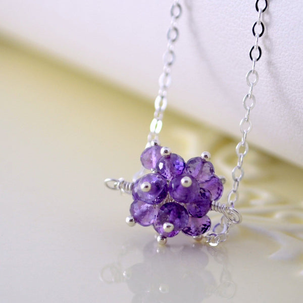 Real Amethyst Necklace with Cluster of Purple Gemstones