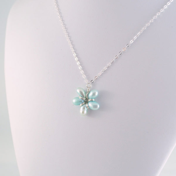Light Blue Pearl Flower Pendant Necklace