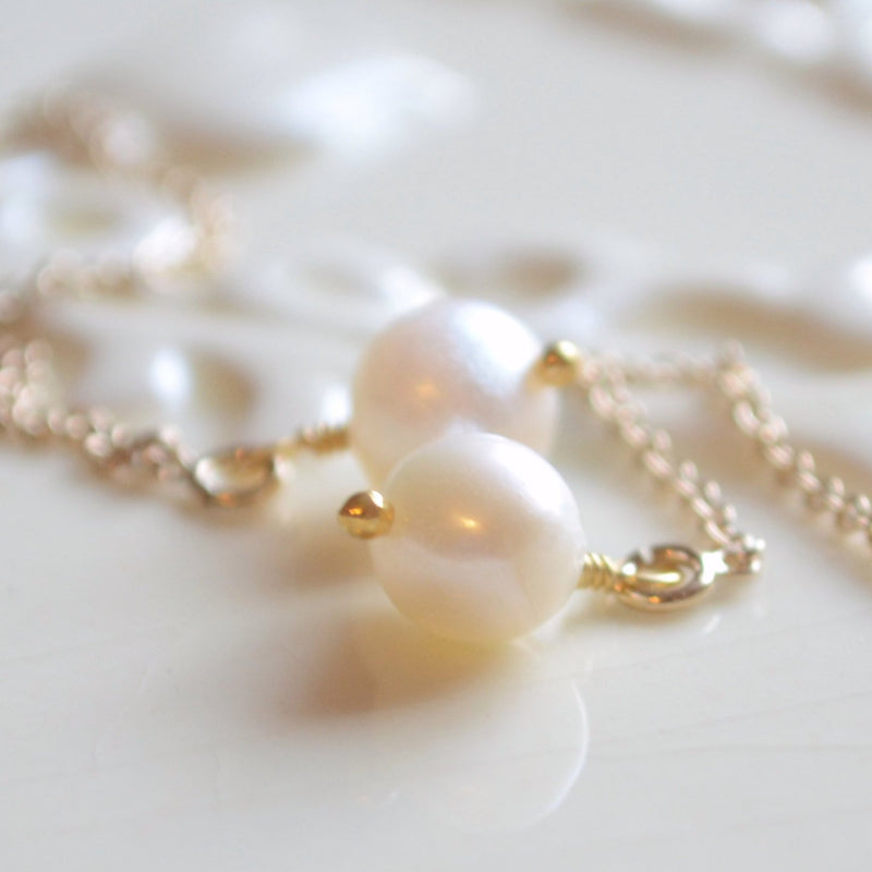 White Genuine Freshwater Pearl Earrings