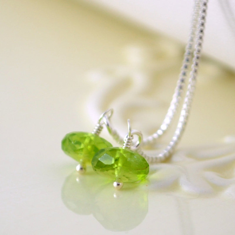 Sterling Silver Earrings with Genuine Peridot Gemstone