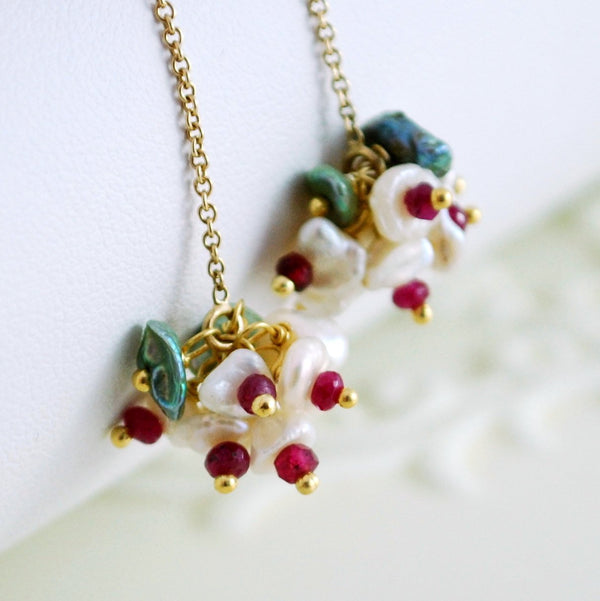 Genuine Ruby Earrings and Keshi Freshwater Pearls