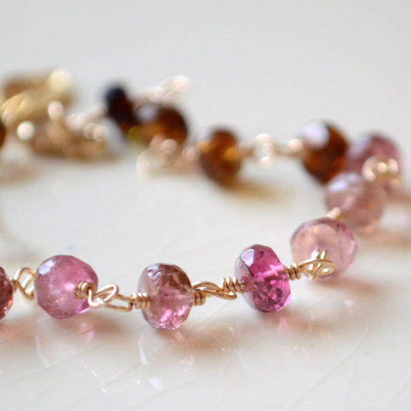 Tourmaline Pink and Brown Gemstone Bracelet