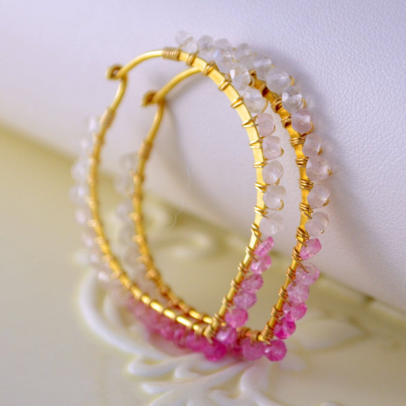 Shaded Ruby Earrings, Gemstone Hoops