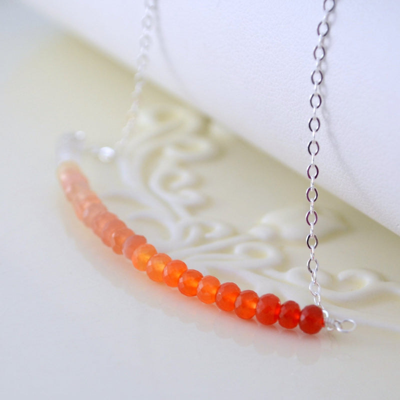 Orange Carnelian Necklace with Peach Moonstone and Crystal Quartz