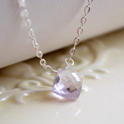 Pink Amethyst Necklace with a Simple Diamond Cut Pendant