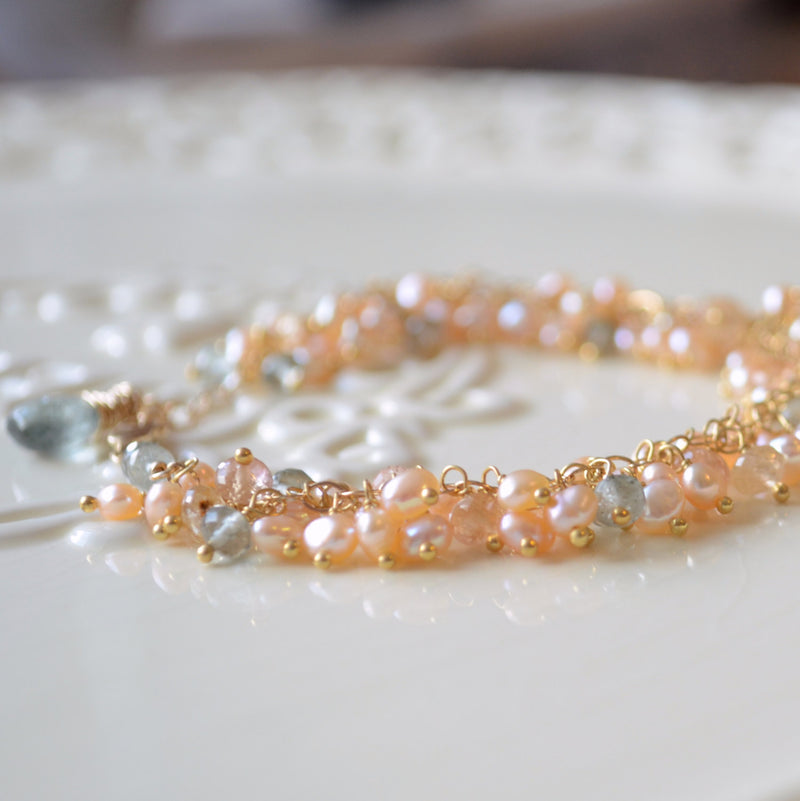 Peach Pearl Cluster Bracelet with Moss Aquamarine - Beach Pebbles