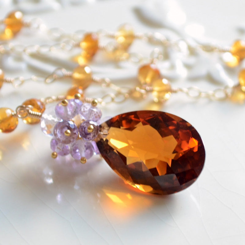 Fall Bridal Necklace in Burnt Orange and Lavender - Rich Autumn