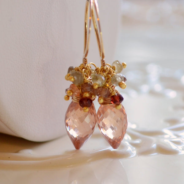 Champagne Wedding Earrings with Cubic Zirconia - Champagne