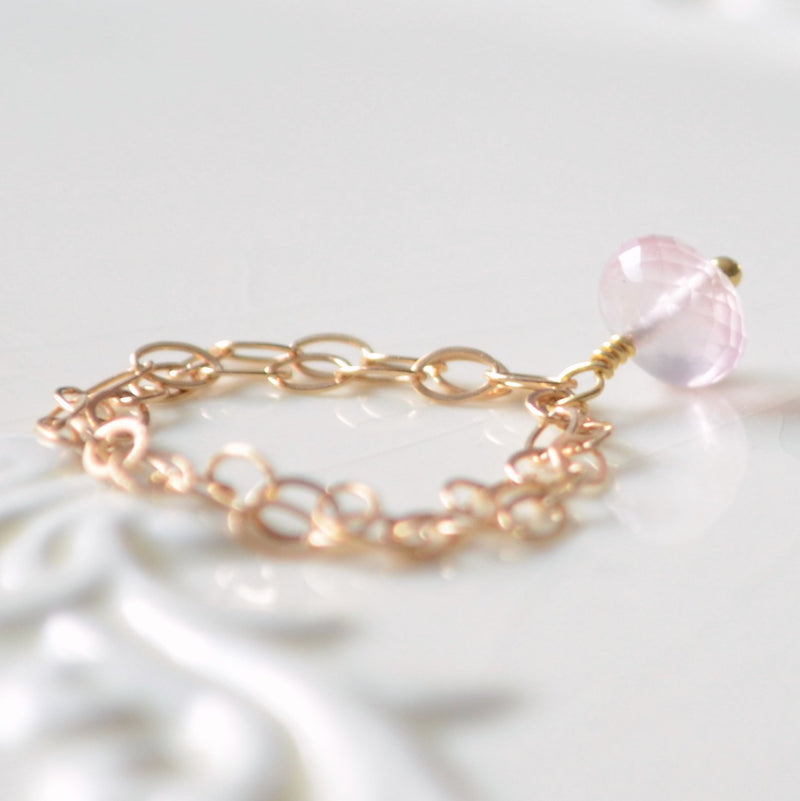 Rose Quartz Ring, Pale Baby Pink Gemstone