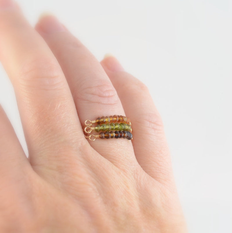 Stacking Rings, Set of 3, Genuine Petro Tourmaline