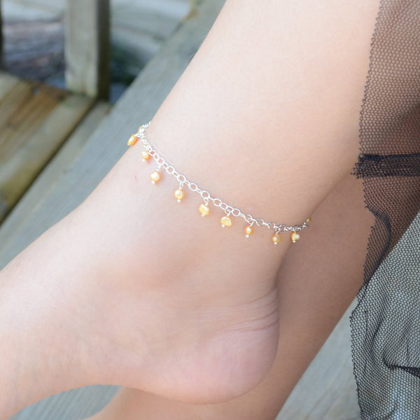 Yellow Pearl Anklet, Child Children Girl, Genuine Freshwater Pearl, Wire Wrapped, Delicate, Sterling Silver, Summer Jewelry