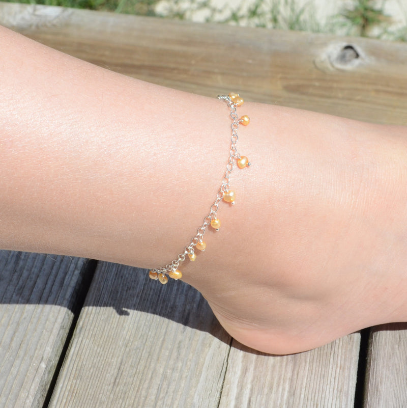 Yellow Pearl Anklet for Girls