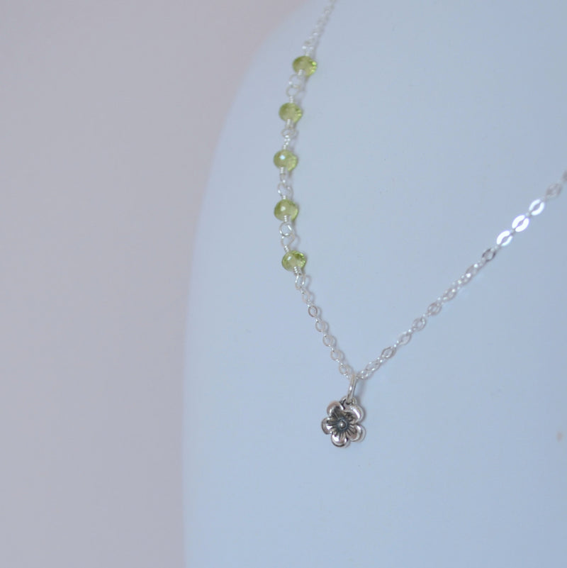Peridot Necklace with Floral Pendant