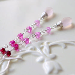 Pink Ombre Earrings with Lab Created Ruby Gemstones