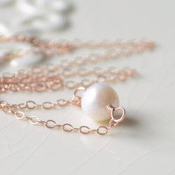 Rose Gold Filled Necklace, Freshwater Pearl Choker
