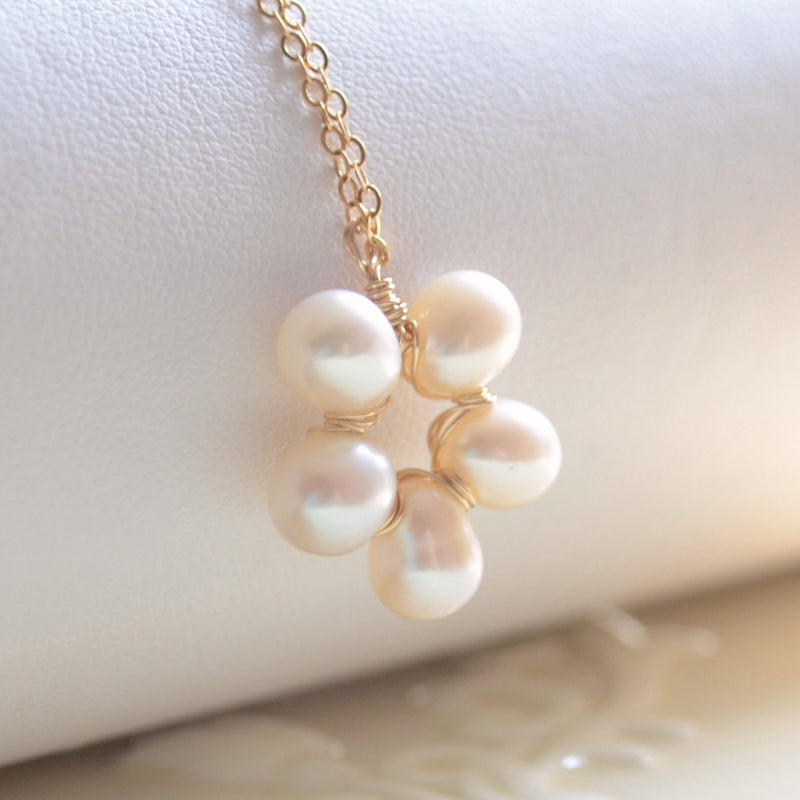 Freshwater Pearl Flower Necklace and Ivory Pearl Pendant