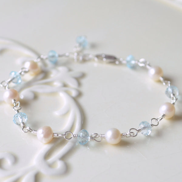 Real Blue Topaz and White Pearl Bracelet