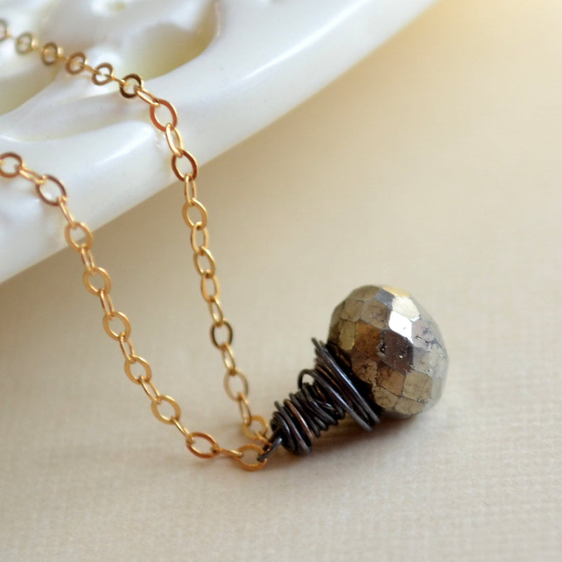 Simple Pyrite Necklace, Burnished Gemstone