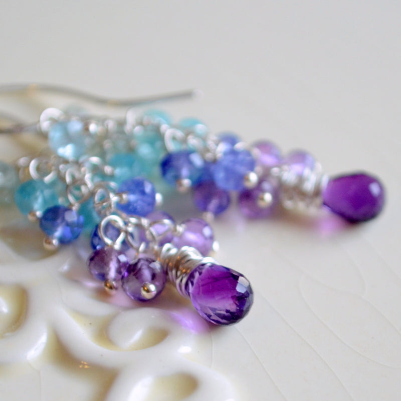 Purple and Aqua Cluster Earrings for Summer Bride - Hyacinth
