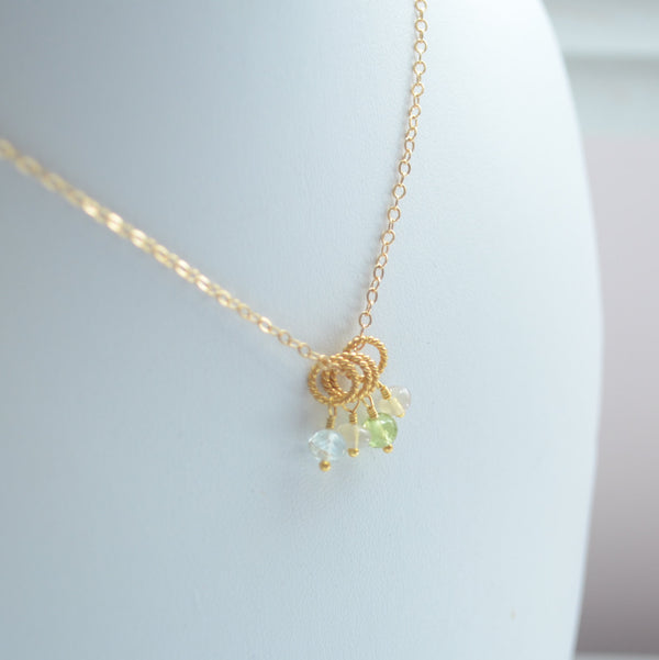 Family Necklace in Gold with Genuine Birthstones