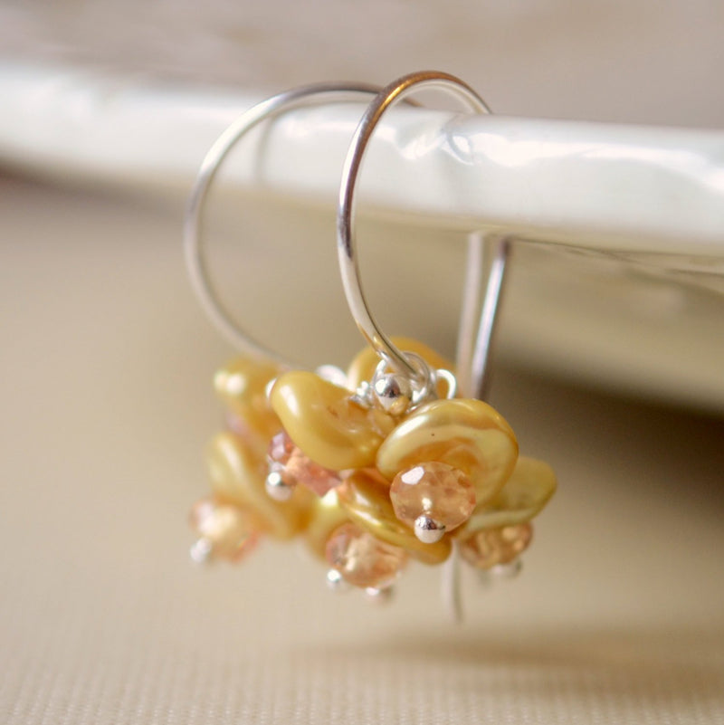 Flower Blossom Earrings, Keishi Pearl and Golden Yellow Sapphire
