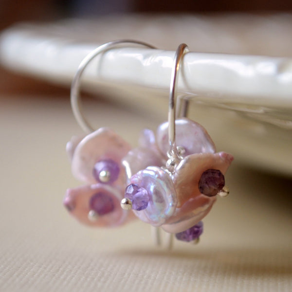 Lavender Earrings, Keishi Pearl with Amethyst Gemstones