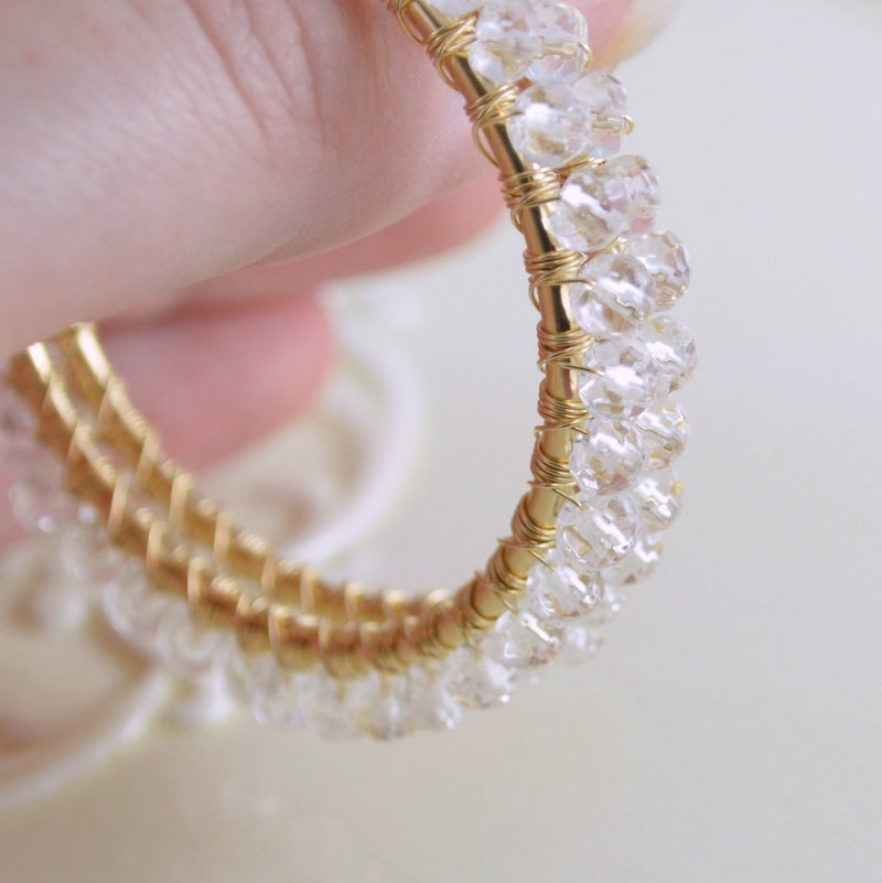 Large Crystal Quartz Hoops