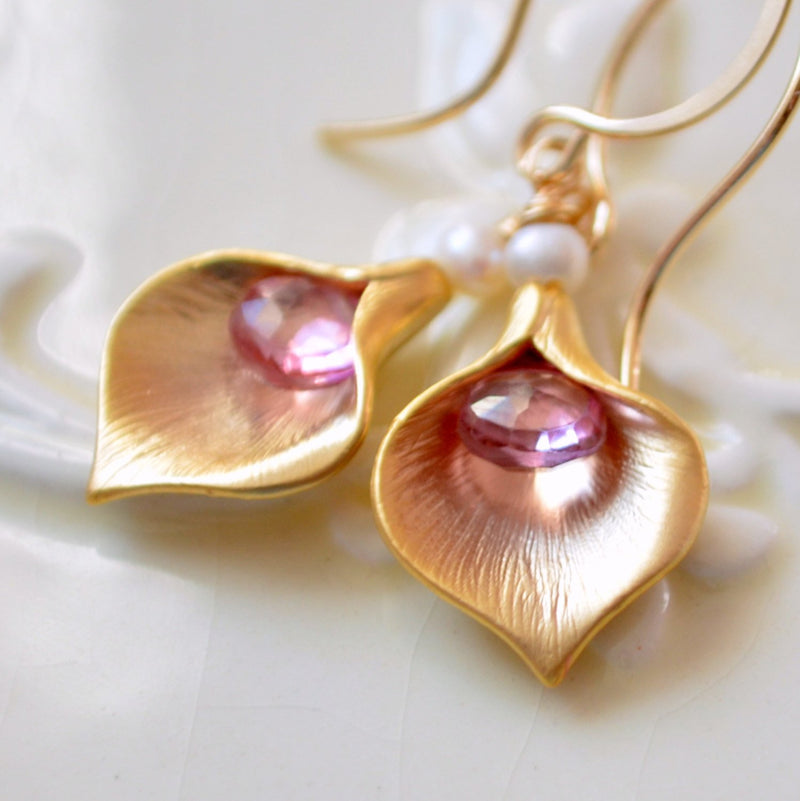 Calla Lily Earrings with Pink Topaz Gemstone