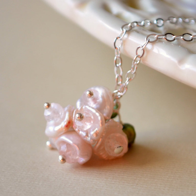 Blush Pink Pearls Flower Girl Necklace