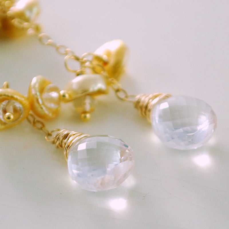Gold Keishi Pearl Earrings