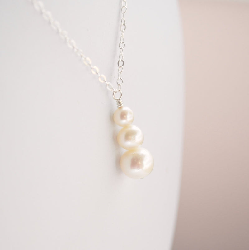 Snowman Necklace with Freshwater Pearls