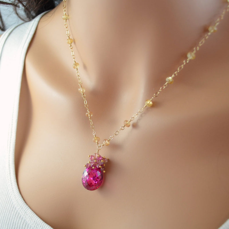 Luxe Hot Pink Gemstone Necklace with Imperial Topaz - Pink Sunset