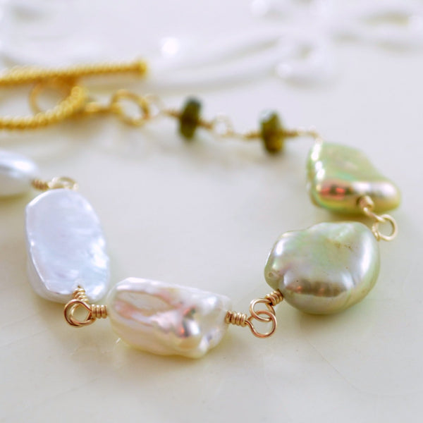 Keshi Pearl Bracelet with Tourmaline Gemstone