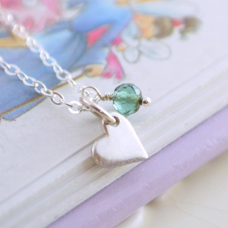 Girls Birthstone Necklace with Dainty Heart Charm