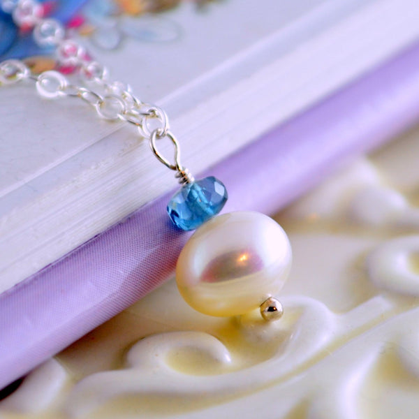 London Blue Topaz Pearl Drop Necklace