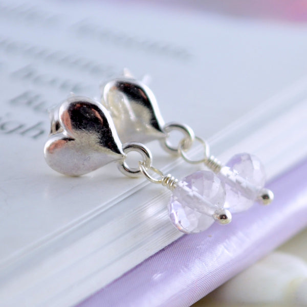 Pink Amethyst Dangle Earrings for Girls