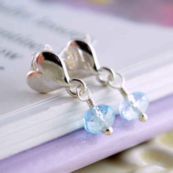 Pale Blue Topaz Dangle Earrings for Girls
