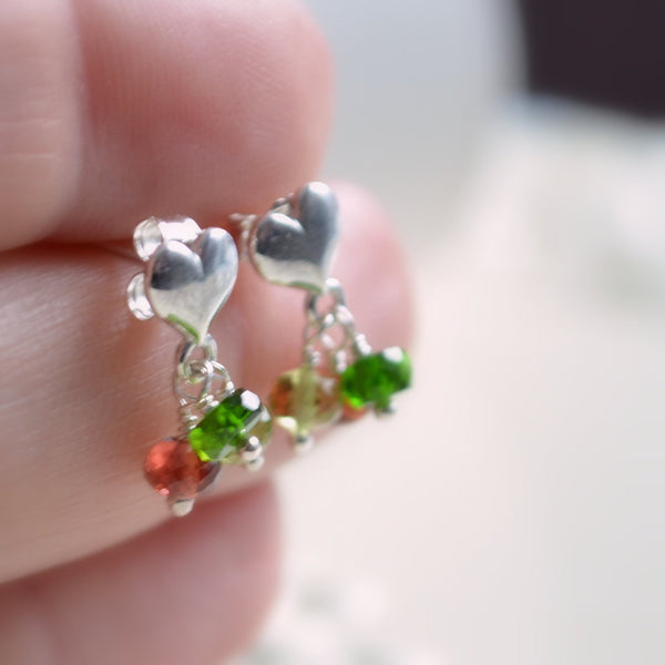 Christmas Earrings, Child's Jewelry, Garnet Peridot Chrome Diopside, Natural Gemstone, Sterling Silver Heart Ear Posts, Holiday
